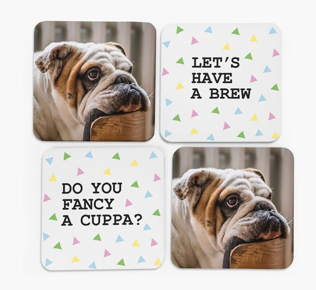 Triangle Pattern Coasters with Photo of your English Bulldog - Set of 4