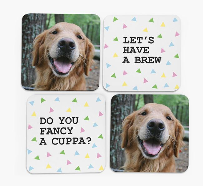 Triangle Pattern Coasters with Photo of your Golden Retriever - Set of 4