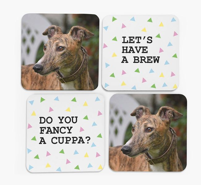 Triangle Pattern Coasters with Photo of your Greyhound - Set of 4