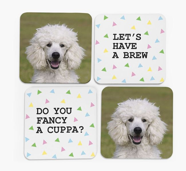 Triangle Pattern Coasters with Photo of your Poodle - Set of 4