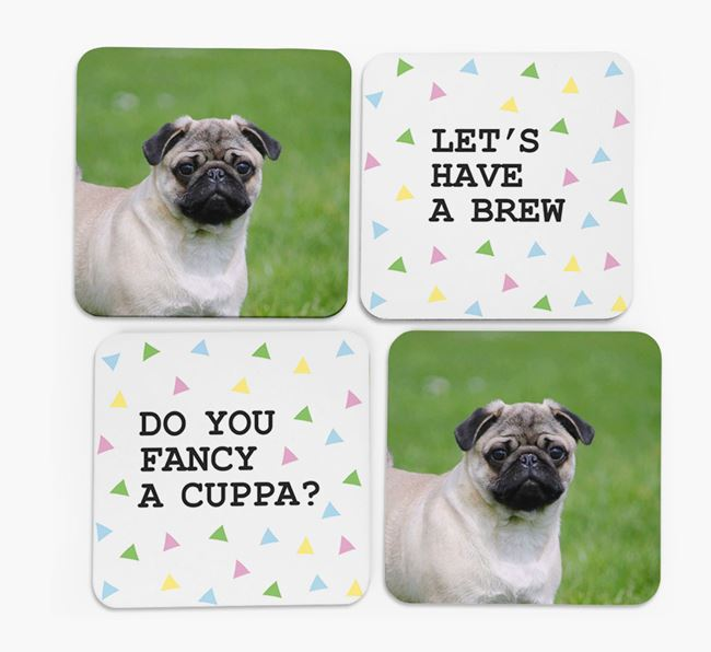 Triangle Pattern Coasters with Photo of your Pug - Set of 4
