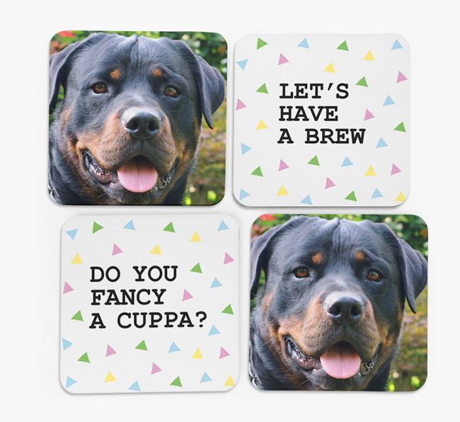Triangle Pattern Coasters with Photo of your Dog - Set of 4
