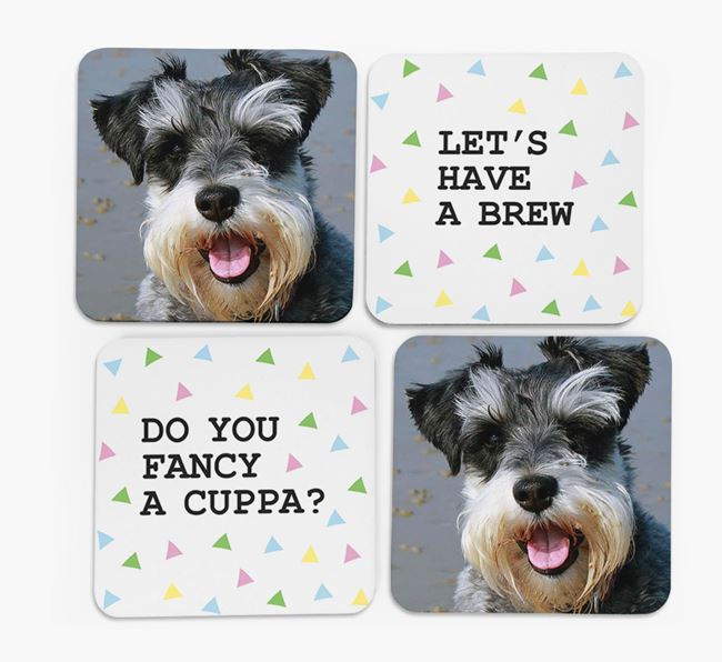 Triangle Pattern Coasters with Photo of your Schnauzer - Set of 4