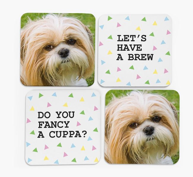 Triangle Pattern Coasters with Photo of your Shih Tzu - Set of 4