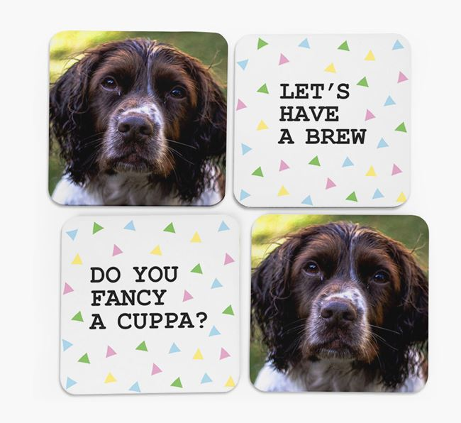 Triangle Pattern Coasters with Photo of your Springer Spaniel - Set of 4