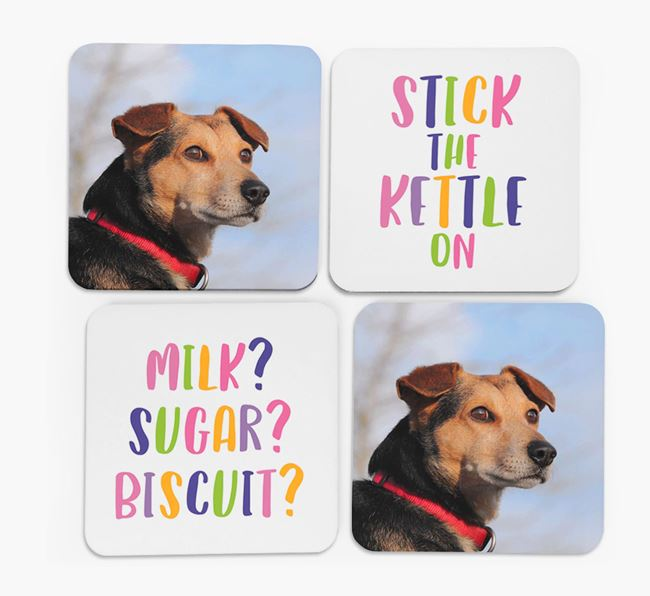 'Stick The Kettle On' Coasters with Photo of your Tamaskan - Set of 4