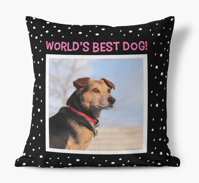 Photo Upload 'World's Best Dog' Pillow with Bich-poo Picture