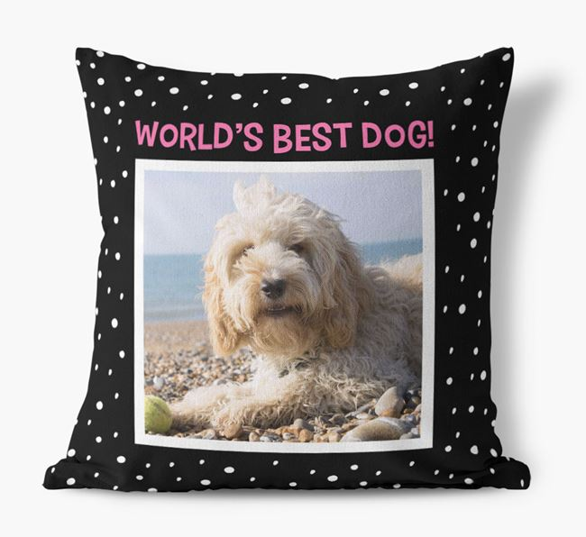 Photo Upload 'World's Best Dog' Pillow with Cockapoo Picture