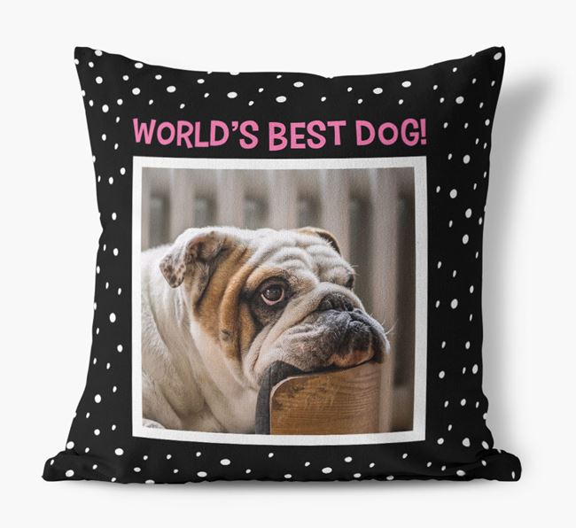 Photo Upload 'World's Best Dog' Pillow with English Bulldog Picture