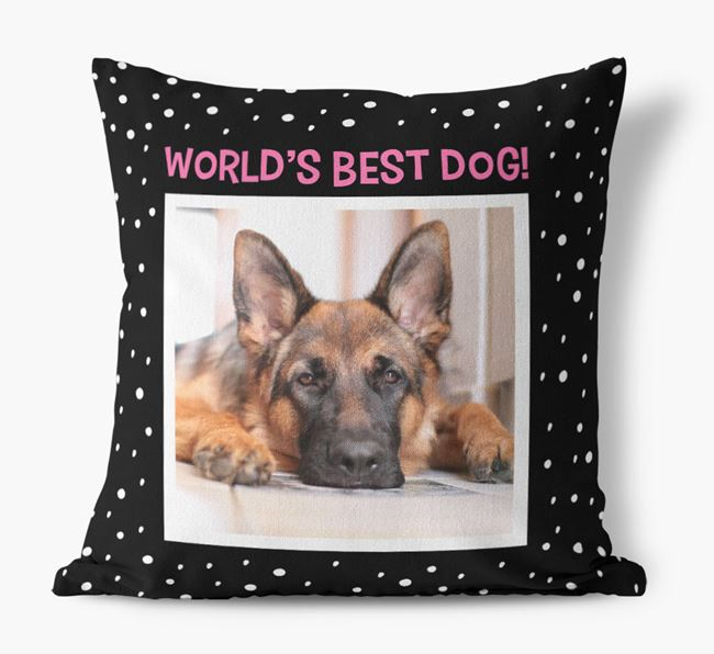 Photo Upload 'World's Best Dog' Pillow with German Shepherd Picture