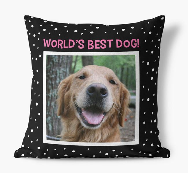 Photo Upload 'World's Best Dog' Pillow with Golden Retriever Picture