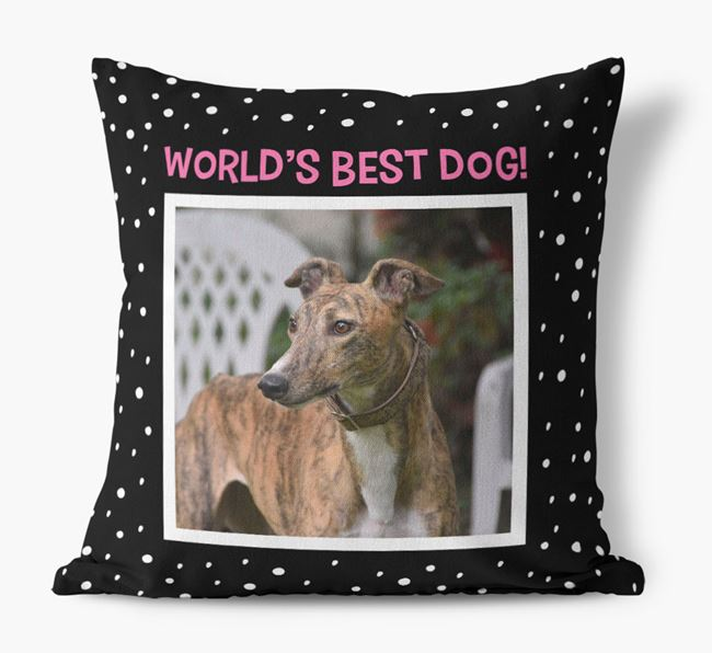 Photo Upload 'World's Best Dog' Pillow with Greyhound Picture