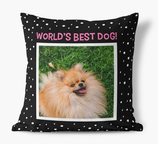 Photo Upload 'World's Best Dog' Pillow with Pomeranian Picture