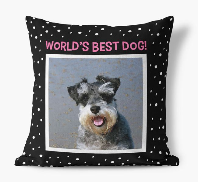 Photo Upload 'World's Best Dog' Pillow with Schnauzer Picture