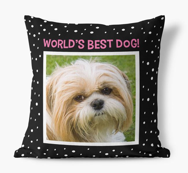 Photo Upload 'World's Best Dog' Pillow with Shih Tzu Picture