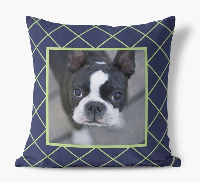Photo Upload Pillow with Line Pattern and Dog Picture