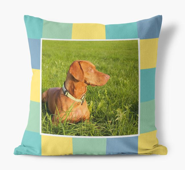 Photo Upload Pillow with Square Pattern and Dog Picture