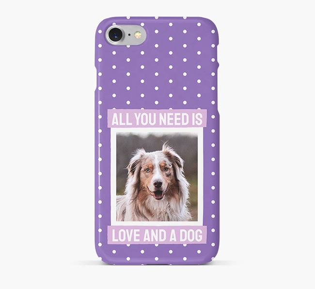 'All You Need is Love' Phone Case with photo of your Australian Shepherd