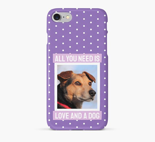 'All You Need is Love' Phone Case with photo of your Bearded Collie