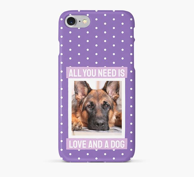 'All You Need is Love' Phone Case with photo of your German Shepherd