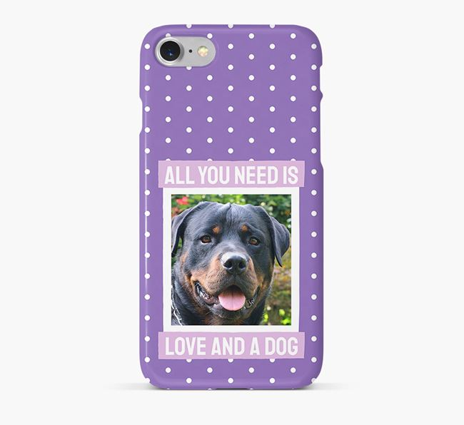 'All You Need is Love' Phone Case with photo of your Rottweiler