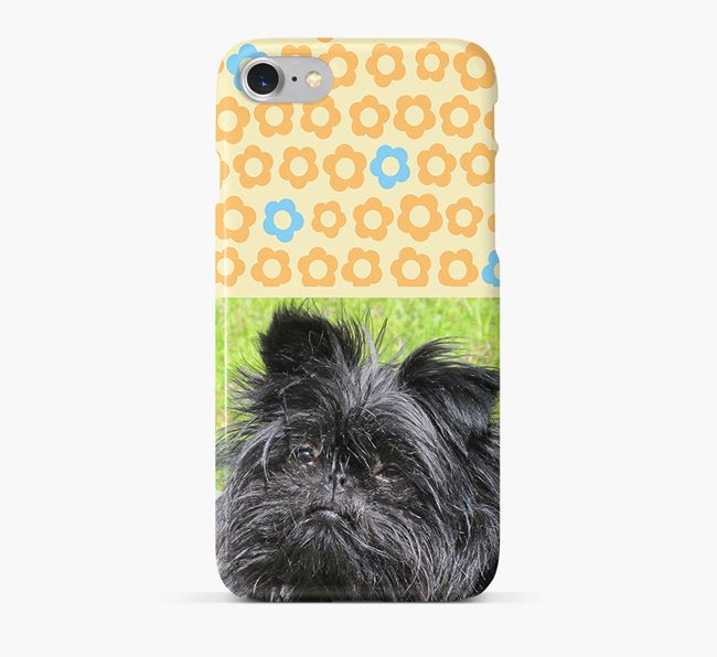 Flower Pattern Phone Case with photo of your Affenpinscher