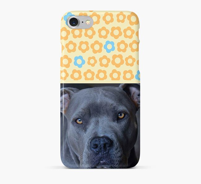 Flower Pattern Phone Case with photo of your American Pit Bull Terrier