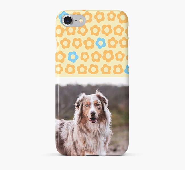 Flower Pattern Phone Case with photo of your Australian Shepherd