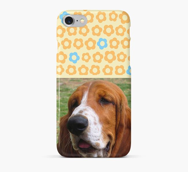 Flower Pattern Phone Case with photo of your Basset Hound