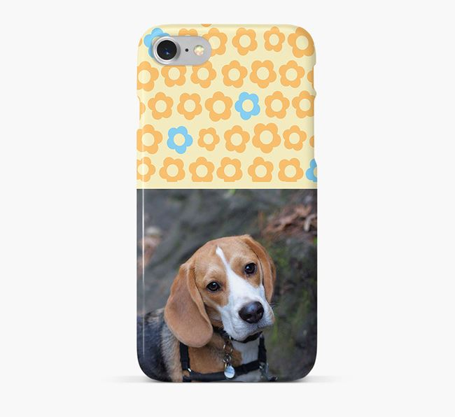 Flower Pattern Phone Case with photo of your Beagle
