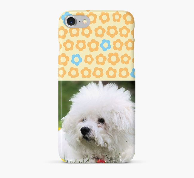Flower Pattern Phone Case with photo of your Bichon Frise