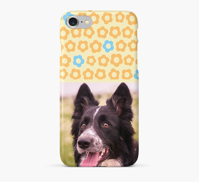 Flower Pattern Phone Case with photo of your Border Collie