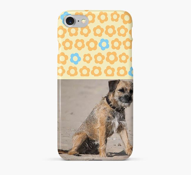 Flower Pattern Phone Case with photo of your Border Terrier