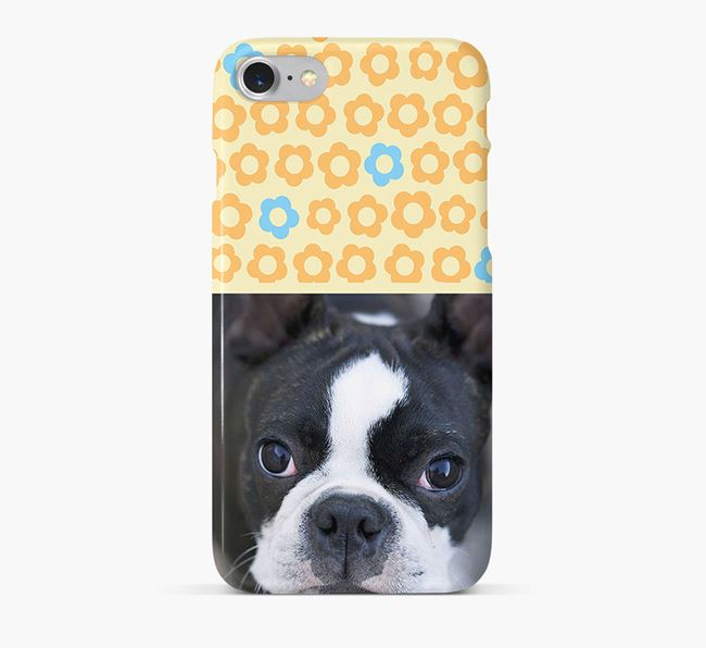 Flower Pattern Phone Case with photo of your Boston Terrier