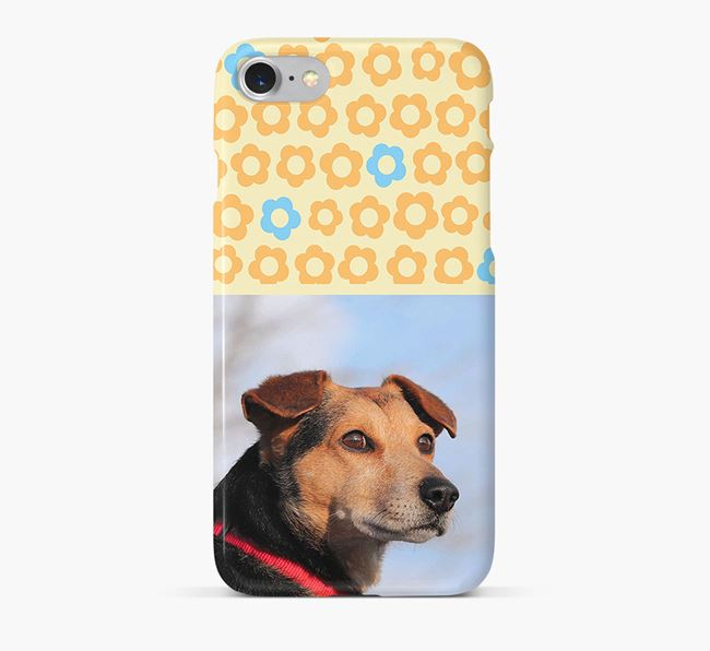 Flower Pattern Phone Case with photo of your Catalan Sheepdog