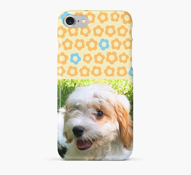 Flower Pattern Phone Case with photo of your Cavachon