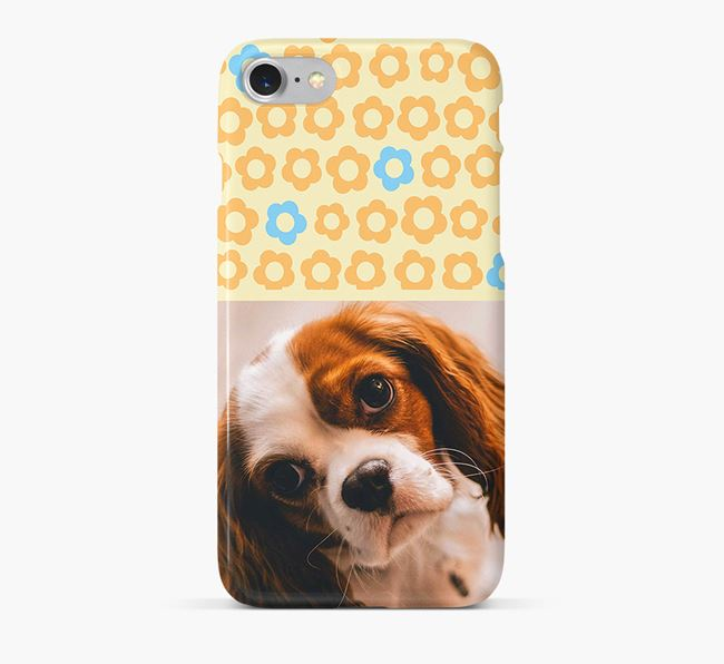 Flower Pattern Phone Case with photo of your Cavalier King Charles Spaniel