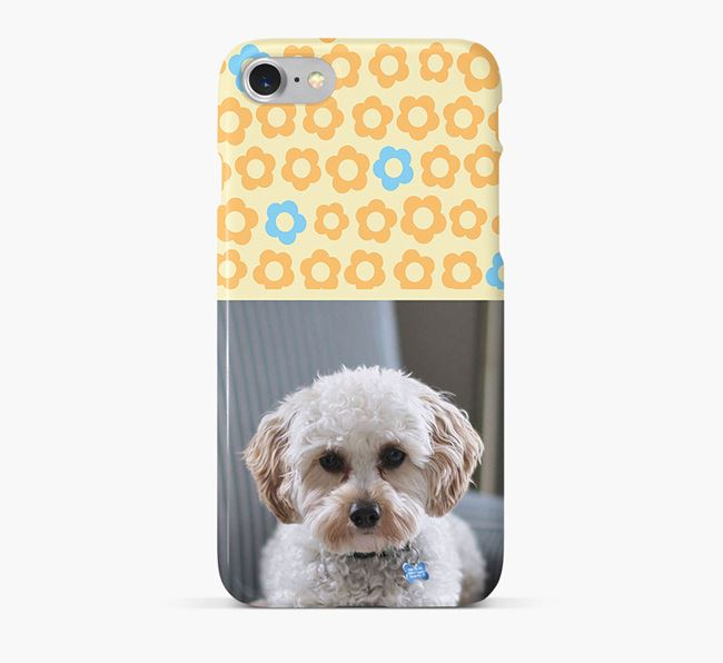 Flower Pattern Phone Case with photo of your Cavapoo