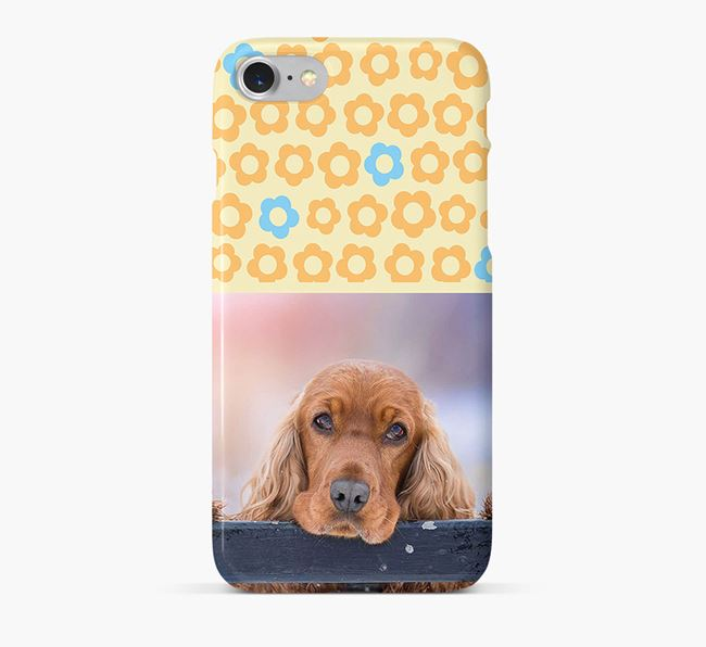 Flower Pattern Phone Case with photo of your Cocker Spaniel