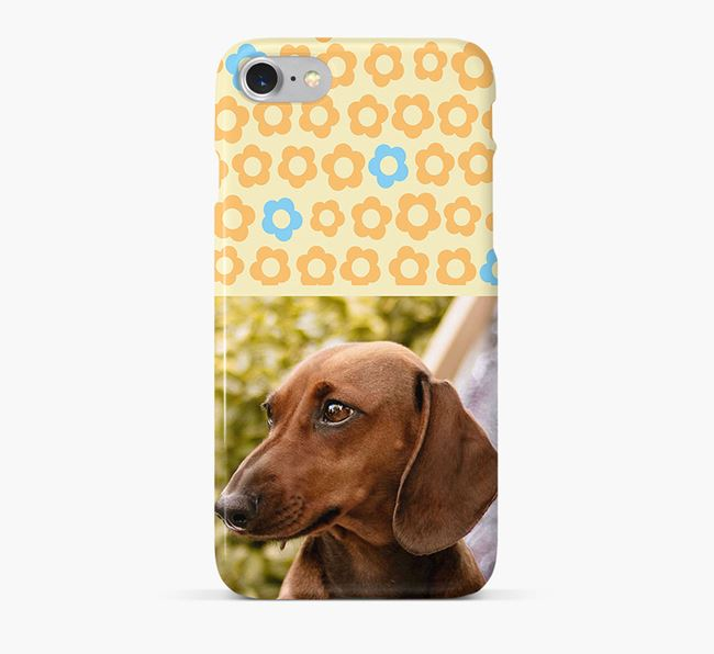 Flower Pattern Phone Case with photo of your Dachshund