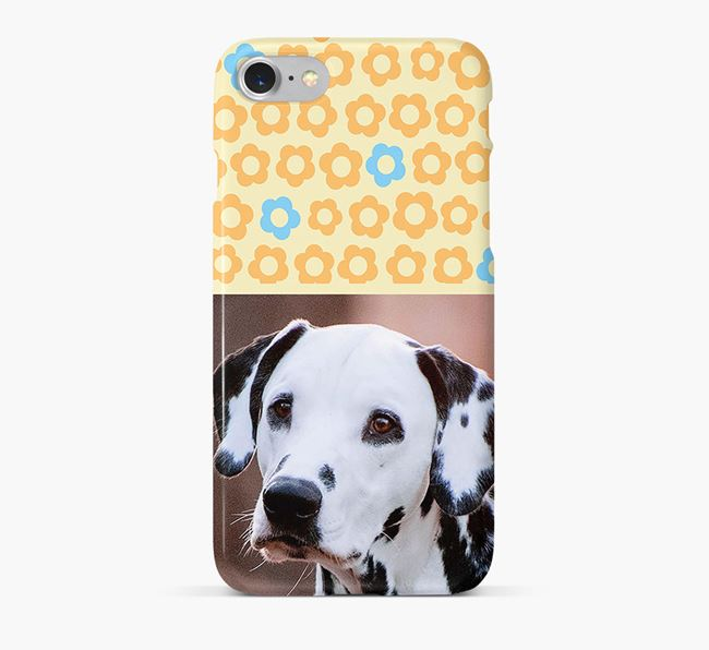 Flower Pattern Phone Case with photo of your Dalmatian
