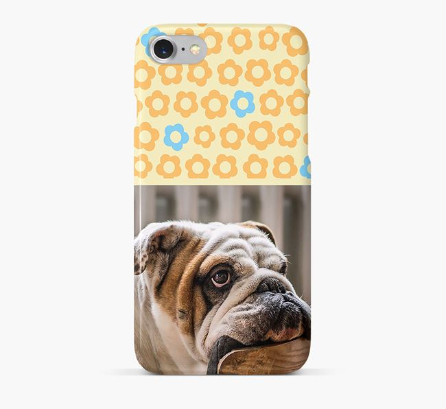 Flower Pattern Phone Case with photo of your English Bulldog