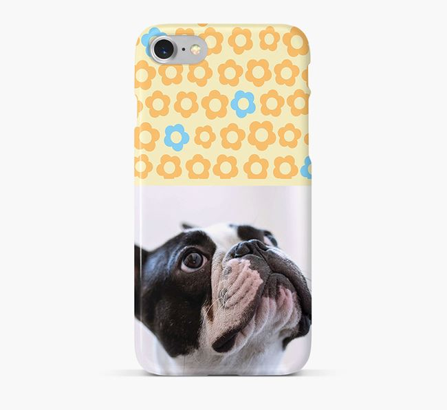 Flower Pattern Phone Case with photo of your French Bulldog