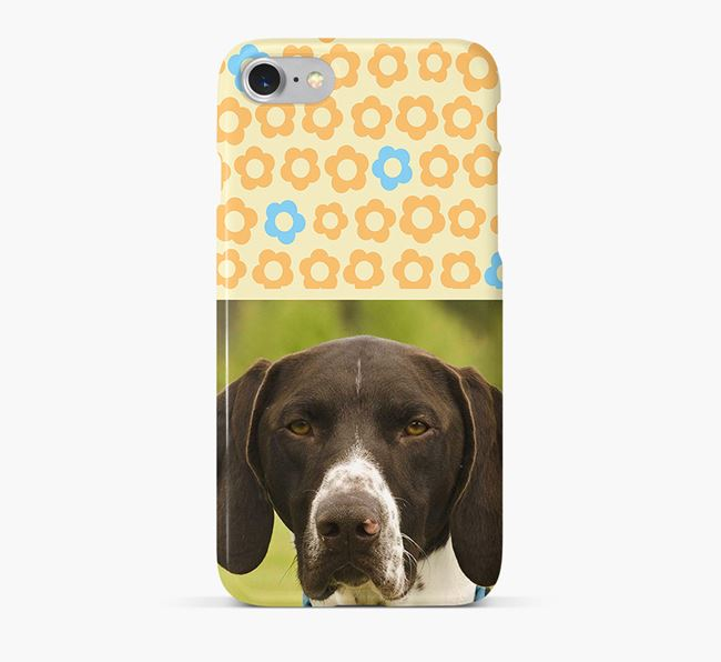 Flower Pattern Phone Case with photo of your German Shorthaired Pointer