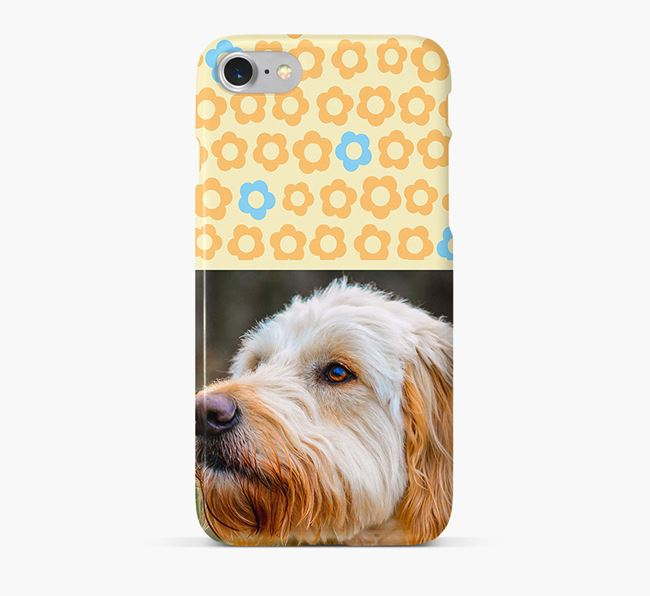 Flower Pattern Phone Case with photo of your Goldendoodle