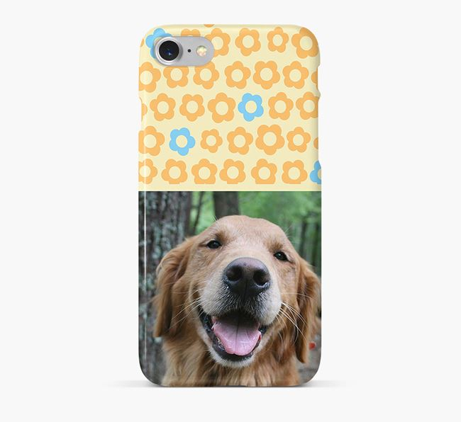 Flower Pattern Phone Case with photo of your Golden Retriever