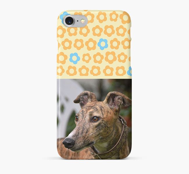 Flower Pattern Phone Case with photo of your Greyhound