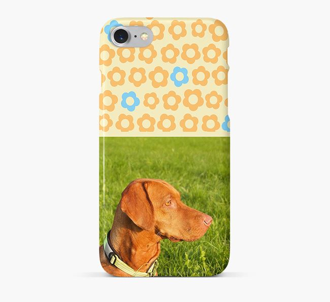 Flower Pattern Phone Case with photo of your Hungarian Vizsla