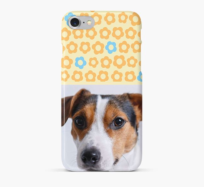 Flower Pattern Phone Case with photo of your Jack Russell Terrier