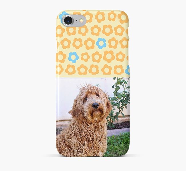 Flower Pattern Phone Case with photo of your Labradoodle